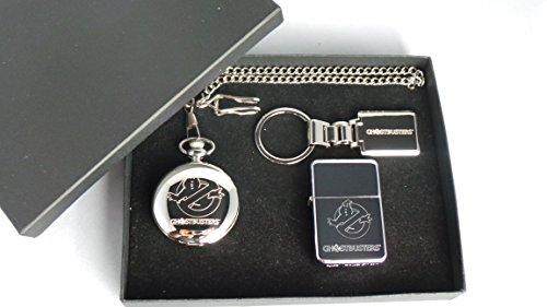 Ghostbusters, GPO Group Exklusives Geschenkset versilbert, Ghostbusters Logo Maurer von London, Half Hunter Taschenuhr, Ghostbusters Logo Feuerzeug aus poliertem Metall und versilbertem Ghostbusters Schlüsselanhänger in Geschenkbox