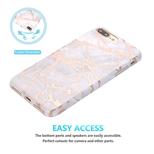 iPhone 7 Plus Hülle, JIAXIUFEN Shiny Gold Pineapple Baby Pink Marmor Flexible TPU Silikon Schutz Handy Hülle Handytasche HandyHülle Schale Case Cover Schutzhülle für Apple iPhone 7 Plus /iPhone 8 Plus Shiny Rose Gold Gray