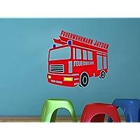 Wandtattoo Feuerwehr + Wunschname (60 cm, Rot)