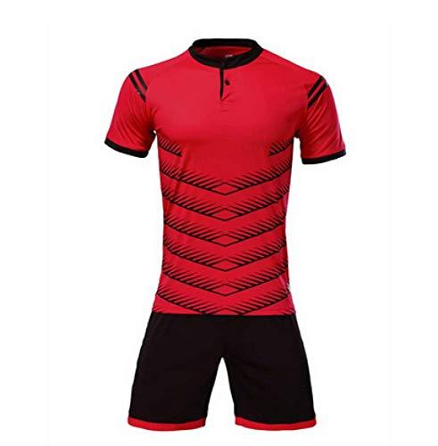 XIAOL Fußball Uniform Für Jungen Männer Fußball Trikots Fußball Jersey Fußball Kit Form Set Anzug Sportbekleidung Trainingsanzug 2017/2018 Neu,Red-XXL -