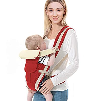 Moclever 4 in 1 Baby Carrier, Ergonomic Soft Breathable Front Facing Baby Carrier Infant Sling Backpack Detachable 4 Safe and Comfortable Positions All Season for Newborn Infant Toddler (Red)