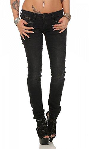 Herrlicher Damen Slim Jeans Piper, Schwarz (Tempest 671), W27/L30 (Herstellergröße: 27)