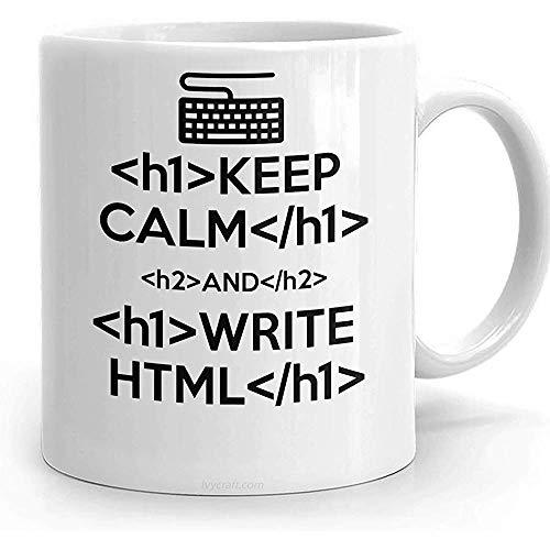 Taza HTML, mantenga la calma y escriba HTML, taza para programador web diseñador regalo taza de café 11oz