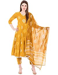 Gulmohar Jaipur Women's Cotton Printed Kurta Pants Set (Mustard)