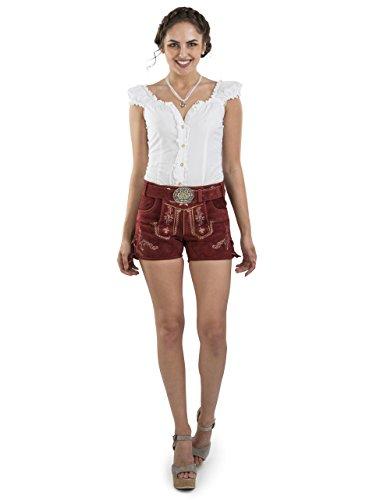 Damen Lederhose Hannah kurz mit Trachtengürtel - Hotpants Trachtenlederhose Dunkelrot Gürtel (34, Rot)