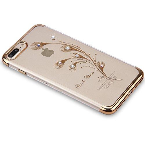 Custodia iPhone 7 Plus, iPhone 7 Plus Cover Silicone, SainCat Cover per iPhone 7 Plus Custodia Silicone Morbido, Custodia Bling Glitter Strass Diamante Silicone 3D Design Ultra Slim Silicone Case Ultr Piume di Pavone #1