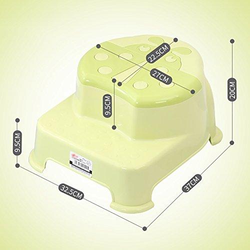 WSSF- Creativi bambini lavarsi le mani poggiapiedi PP plastica 2 passo piccola panca bagno antiscivolo salire scaletta sgabello pedale vasino formazione sgabello (Colore : Green)
