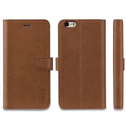 iPhone 6s Plus Hülle iPhone 6 Plus Hülle, TUCCH Handyhülle iPhone 6s Plus / 6 Plus Case Tasche [Lebenslange Garantie] mit [Aufstellfunktion] [Kartenfach] [Magnetverschluss], Schwarz Braun