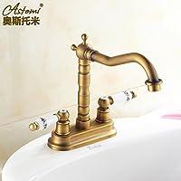 SBWYLT-Rubinetto del bacino di rame antico due fori lavabo rubinetto