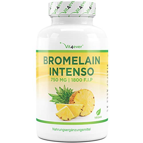 Vit4ever® Bromelain Intenso - 750 mg (1800 F.I.P) - 120 Kapseln - Laborgeprüft - Natürliches Verdauungsenzym aus Ananas-Extrakt - Verdauung - Vegan - Verdauungs Enzym Mischung