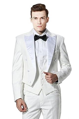 MYS Men's Custom Made White Satin Peak Lapel long tail swallowtail coat Vest Pants Set White Tailored