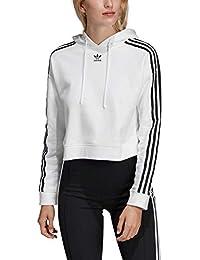 buy popular a7bc8 0bfd4 adidas Cropped Hoodie, Felpa con Cappuccio Donna, Bianco, 42