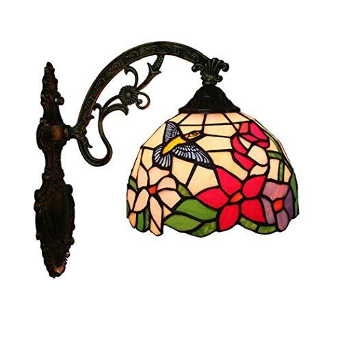 Tiffany-Art-Wandlampe, Buntglas-Kolibri-Entwurfs-Wand-Licht, Weinlese-kreatives Gang-Balkon-Treppen-Wand-Licht yd&h -