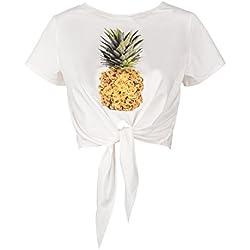 Camiseta Estampada Creativa De Piña con Estampado De Piña Top M