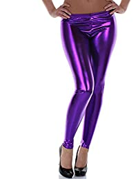 Distressed Metallic Shiny Glanz Leggings Wet Look S~M 34,36,38