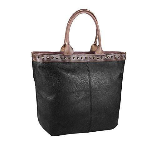 OBC ital-design XXL DAMEN TASCHE HENKELTASCHE DIN-A4 Aktentasche Schultertasche Beuteltasche Handtasche Shopper Weekender Cognac Schwarz