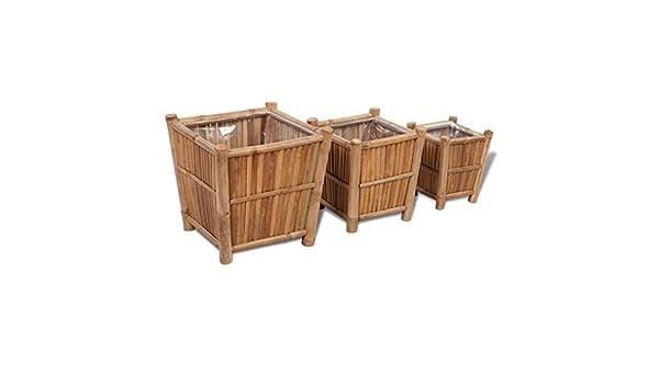Anself 3er Set Blumenkasten Pflanzkübel Pflanzbeet aus Bambus mit ...