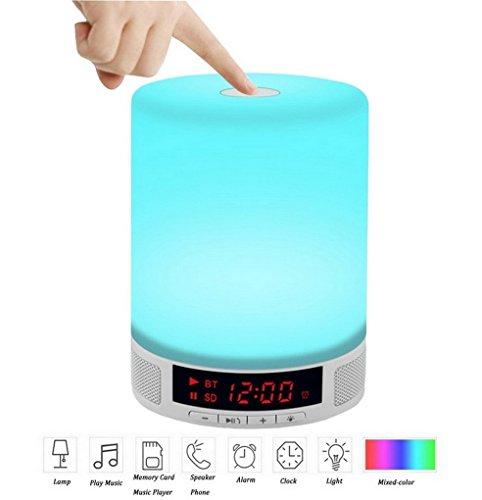 Restbuy Nachttischlampe Tischleuchte mit Bluetooth Lautsprecher Farbwechsel 3 Stufen dimmbar Touch Sensor Ideal für Wohnzimmer und Schlafzimmer
