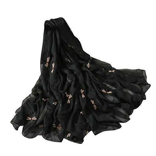 QIMANZIDamen Seiden Schal Elegante Seidentuch Hohe Qualität Hautfreundlich Anti-Allergie Halstuch Tuch(Black,180x140cm) -