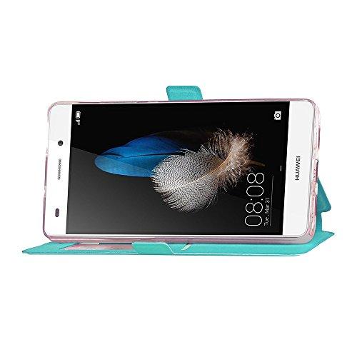 Für Huawei P8 Lite Case Cover Horizontale Flip Stand Case mit transparenten Fenster & Card Slots & Magnetic Closure ( Color : Gold ) Blue