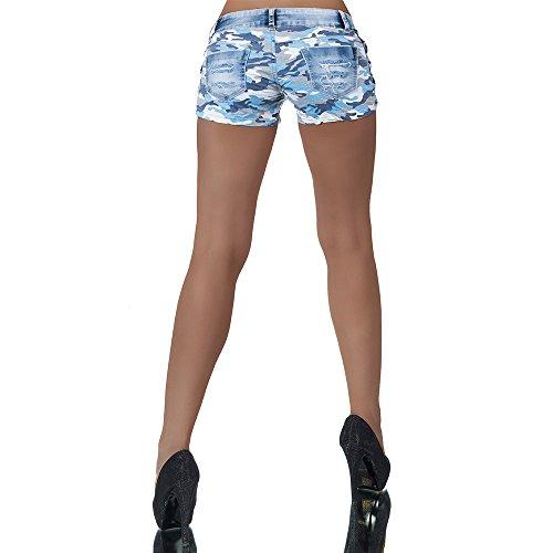 H980 Damen Jeans kurze Hose Damenjeans Hüftjeans Hot Pants Shorts Panty Blau