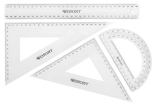 Westcott E-10304 00 Set matematica, 4 pezzi, plastica, trasparente