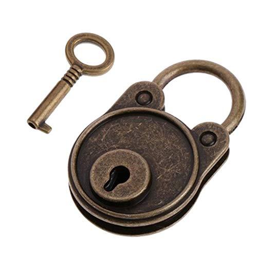 FLAMEER Vintage Vorhängeschloss Mini Lock mit Schlüssel für Aufbewahrungsbox Tagebuch Schmuckbox - Kupfer (Junge Tagebuch Lock)