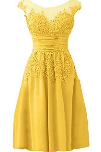 Ivydressing Damen Elegant Spitze Applikation Rundkragen A-Linie Chiffon&Tuell lang Promkleid Festkleid Abendkleid Golden Kurz