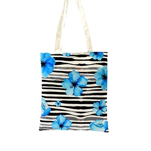 Nacnic tote bag panno blu fiori on line. eco-friendly tracolla multiuso. perfetto per tutti i giorni. campione di misura 35x40 cm