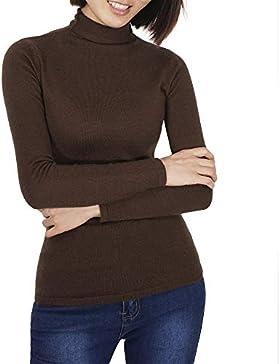Mujer Suéter de Cuello Alto Jersey de Punto Jerséis Casual para Mujer Pulóver para Mujer Otoño Invierno Blanco...