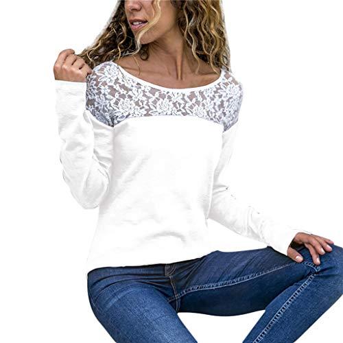 TIFIY Damen Beiläufig Spitze Patchwork Blumen Rüschen Kurzarm Sommer Niedlich Floral Shirt Lose Bluse Top Oktoberfest Herbst Kostüm Sweatshirt Weiß (2XL, ()