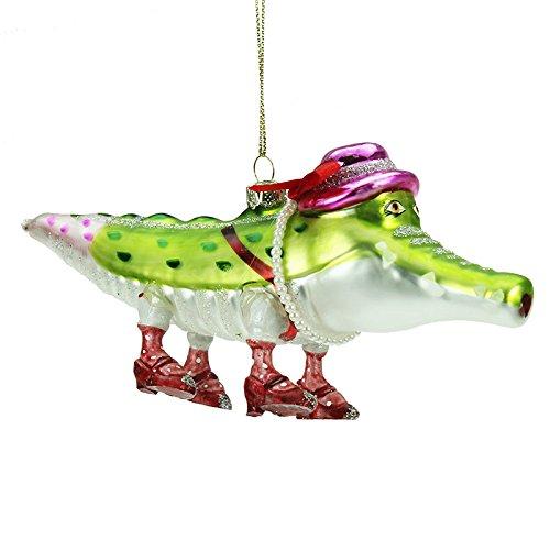 handbemalt Glas Weihnachtsdekoration - Mrs Krokodil (17cm)