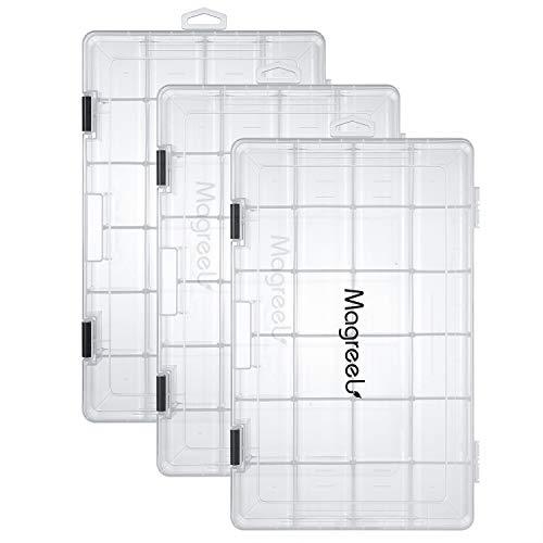 Magreel Angelkasten, transparente wasserdichte Kunststoffbox Aufbewahrungsbox Organizer Gitterbox für Schmuck Perlen Container Werkzeug Angelhaken kleines Zubehör 24 Gitter