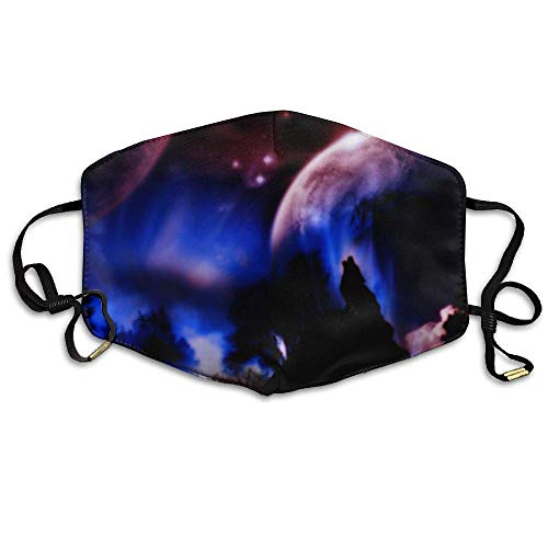 Daawqee Staubschutzmasken, Beautiful Galaxy Wolf Moon Anti Dust Breathable Face Mouth Mask for Man ()
