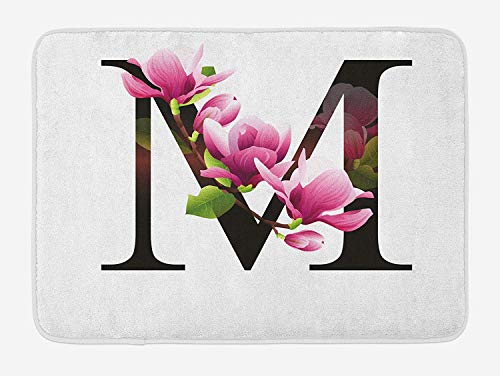 KAKICSA Letter M Bath Mat, Magnolia Florets Dignity and Nobility Expressing Flowers in Alphabet Design, Plush Bathroom Decor Mat with Non Slip Backing, Pink Green Black,15.7X23.6 inch Magnolia Flower Bowl