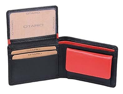 Petit portefeuiller OTARIO, cuir véritable, noir et rouge 10,5x8cm