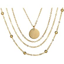 KnSam Joyas Collar de Collar de 4 Capas de La Oblea Ajustable Cadena de Múltiples Capas