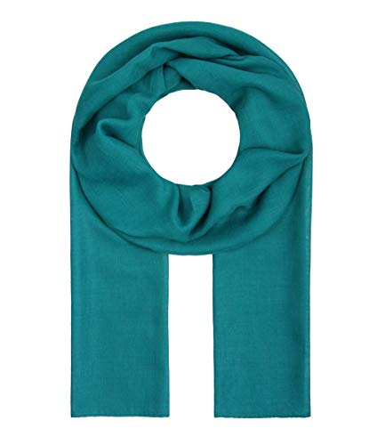 Majea Tuch Lima schmal geschnittenes Damen-Halstuch leicht uni einfarbig dünn unifarben Schal weich Sommerschal Übergangsschal (petrol)