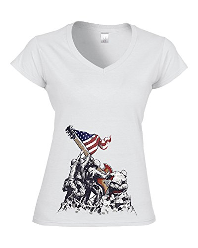 DarkArt-Designs Let Freedom Rock - Musiker T-Shirt für Damen -Gitarrenmotiv Shirt Musik Party&Freizeit Lifestyle slim fit White