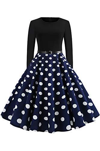 Babyonlinedress® Damen 50er Jahre Kleid Rockabilly Vintage Petticoat Kleid Cocktailkleider Gepunkte Kleider Navyblau Gr.2XL XXL