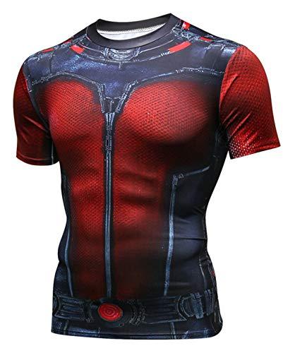 PIZOFF Unisex 3D Druck Kurzarm T-Shirt Muskelshirt Superhero Kampfanzug Ant-Man ()