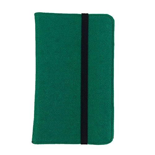 handy-point 7.0 Zoll Organizer Tablet Tasche aus Filz Filztasche Filzhülle Hülle Tablethülle Schutztasche Schutzhülle mit Kartenfach, Universal für Tablet (7'', Dunkelgrün) - Filz-pads 16 7