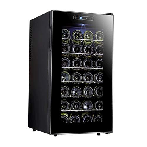 MYYINGELE Design Kompressor Weinkühlschrank für bis zu 28 Flaschen, Seitliche Griffmulde Soft-Touch-Bedienfeld 6 Regaleinschübe Freistehend, Schwarz Freistehend -