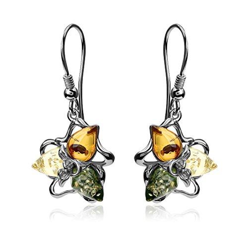 Multicolore Ambra Argento Sterling Fiore gancio orecchini