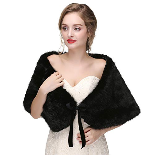 Fur Brautkleid Wrap Schal Stola Shrug mit Band Schnürsenkel für Hochzeit 1920er Jahre Party (Schwarz) ()