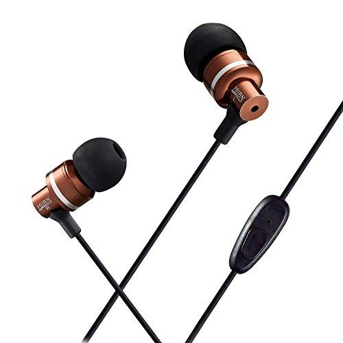 Meilunz HIIBN HI300 Ohrhörer in Ear mit Lautstärkenregler Headset für Smartphones: iPhone, Sony, Samsung, LG, Huawei, HTC, uvm. | Kopfhörer | Sport Kopfhörer | Ear Pods - kaffeebraun-silberglänzend