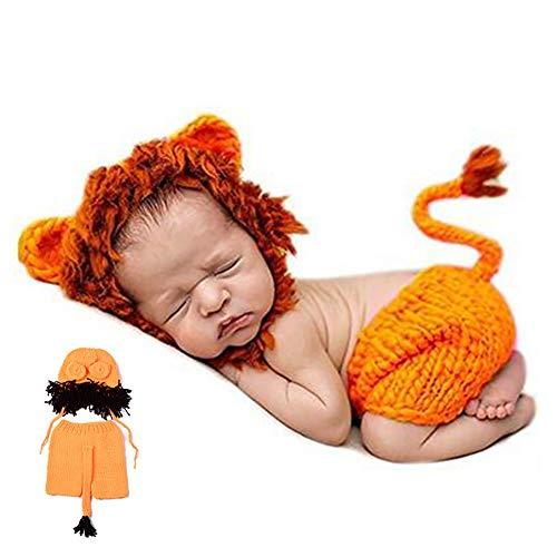1 Packung Neugeborenes Fotografie Kostüm Nette Karikatur-Löwe-Schlafmütze und Hosen-Baby Crochet Strick Outfit Kostüm Lustiger Entwurf Foto Props für Baby - König Löwe Kleinkind Kostüm