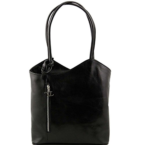Tuscany Leather - Patty - Sac en cuir convertible en sac à dos - Noir