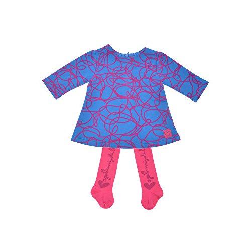 AGATHA RUIZ DE LA PRADA Baby 2tlg. SET Baby Kleid & Strumpfhose, Mädchen Outfit, TWISTER 9224W15, 24M (74cm), Blau