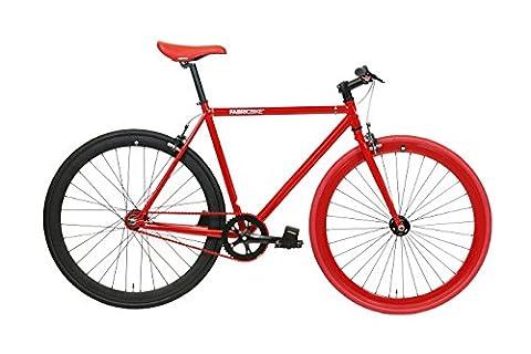 FabricBike- Vélo Fixie Rouge, Fixed Gear, Single Speed, Cadre Hi-Ten Acier, 10Kg (Red & Matte Black 2.0, M-53)
